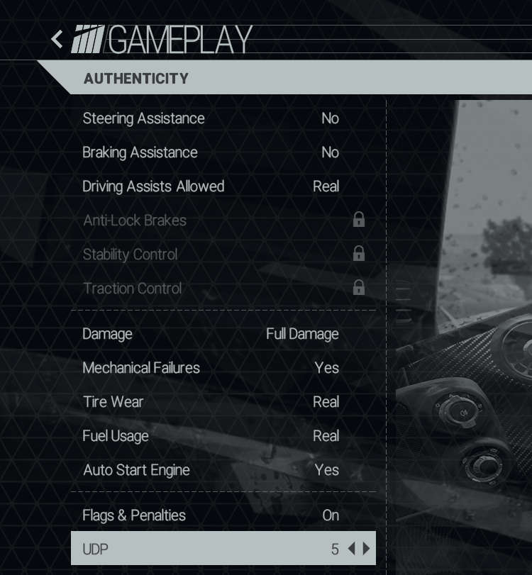 Gameplay menu